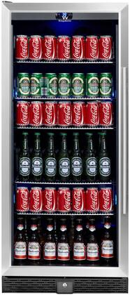 "KingsBottle KBU- 24"" Beverage Center with x Can Capacity, Temperature Alarm, Automatic Defrost, Security Lock and Tempered Reversible Glass Door with Stainless Steel Trim"