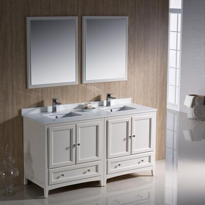 "Fresca Oxford Collection FVN20-3030 60"" Traditional Double Sink Bathroom Vanity with 4 Soft Close Doors, 2 Soft Close Dovetail Drawers and Tapered Legs in"
