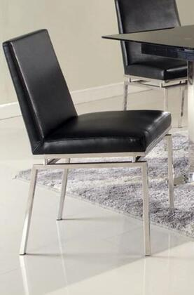 Chintaly TYLER-SC Tyler Contemporary Black Side Chair with Stainless Steel Finish