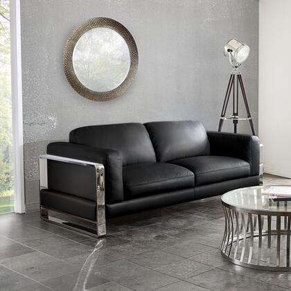 """Diamond Sofa Annika ANNIKASO 82"""" Sofa with Air Leather, Polished Stainless Steel Arm and Plush Back Pillows in"""