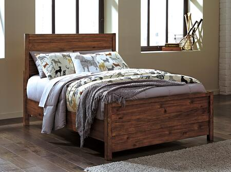 Signature Design by Ashley Fennison Collection B544PANEL X Size Panel Bed with Wood Grain Details, Clean-Line Design and Acacia Solids and Veneers Construction in Light Brown