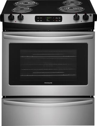 """Frigidaire FFES3016Tx 30"""" ADA Compliant Slide In Electric Range with 4.6 cu. ft. Capacity, 4 Coil Elements, Self-Clean Function, 2 Racks, and Storage Drawer, in"""