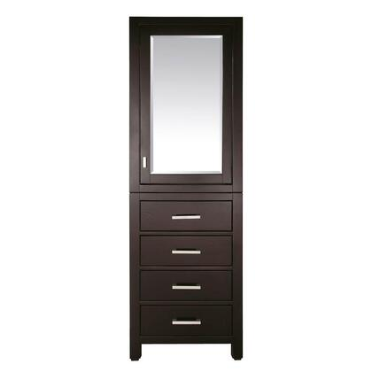 "Avanity MODERO-LT24-X Modero Collection 24"" Linen Tower, with 1 Soft Close Mirror Door, 4 Drawers, and Wood Construction"