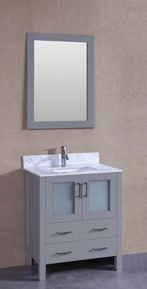 """Bosconi AGR130CMUX XX"""" Single Vanity with Carrara Marble Top, Oval White Ceramic Undermount Sink, F-S01 Faucet, Mirror, Backsplash, 2 Doors and X Drawers in Grey"""