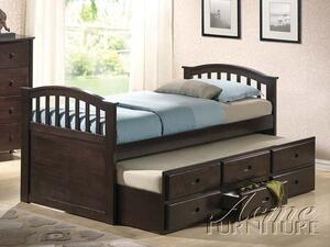 Acme Furniture San Marino Collection Bed with Storage Drawers, Trundle, Arched Design, Solid Wood and Wood Veneer Construction in Dark Walnut Finish