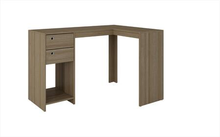 """Accentuations Palermo Collection 41AMCXX 50"""" Classic L-Desk with 2 Drawers, Ring Holes and 1 Open Shelf in"""