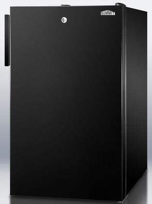 "Summit CM421BLBIX 20"" Medically Approved & ADA Compliant Compact Refrigerator with 4.1 cu. ft. Capacity, Manual Defrost, Door Lock, Crisper Drawer and Adjustable Glass Shelves, in Black"