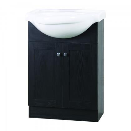 "Yosemite YVEC-472WH 24"" Single Vanity with Ceramic Top, Centerset Faucet Hole, ceramic Basin and 2 Door-Cabinet"