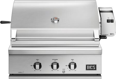 """DCS BH1-30R 30"""" Traditional Built-In Gas Grill with 2 Stainless Steel U Burners, 1 Rotisserie, Ceramic Radiant Technology, Temperature Gauge, Drip Pan, and Grill Light, in Stainless Steel"""
