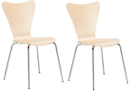 EdgeMod EM183NATX2 Elgin Series Modern Metal Frame Dining Room Chair