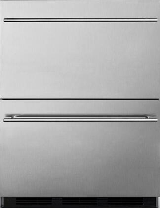 """Summit SP6DS2DOS7x 24"""" Outdoor Commercial Drawer Refrigerator with 5.4 cu. ft. Capacity, Weatherproof Design, Automatic Defrost, Magnetic Gaskets and Adjustable Thermostat, in Stainless Steel"""