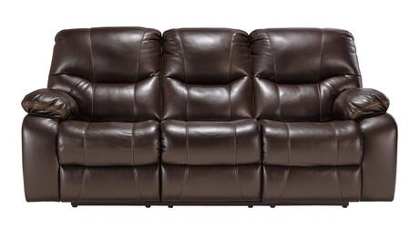 Milo Italia Sierra MI-5309ATMP Reclining Sofa with Stitching Details, Plush Padded Arms, Thick Divided Back Cushions and Contrasting Trim in Brindle