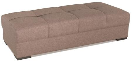 """Casamode Mystic Collection MYSTIC OTTOMAN 70"""" Ottoman with Chenille Fabric Upholstery, Tufted Top and Block Feet in"""