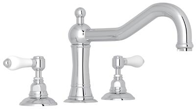 Rohl A1414LP Italian Country Bath Collection Acqui Three-Hole Deck Mounted Column Spout Tub Filler with up to 17 GPM Water Flow and Porcelain Levers in