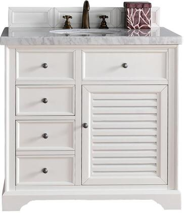 "James Martin Savannah Collection 238-104-V36-CWH- 36"" Cottage White Single Vanity with Single Soft Closing Door, Two Soft Closing Drawers, Antique Pewter Hardware and"