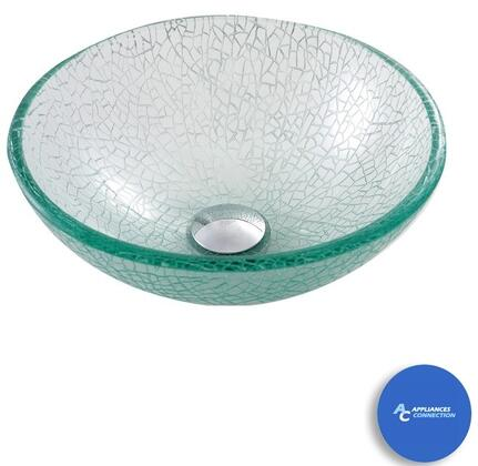 """Kraus CGV5001412MM1005 Nature Series 14"""" Mosaic Round Vessel Sink with 12-mm Tempered Glass Construction, Easy-to-Clean Polished Surface, and Included Riviera Faucet"""