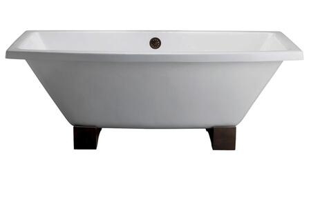 """Barclay CTSQ 67"""" Athens Cast Iron Tub on Wooden Block Feet with Overflow and"""