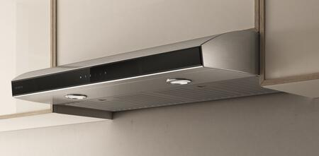 Elica EAI43xSS Aria Under Cabinet Range Hood with 430 CFM Internal Blower, 2 Stainless Steel Baffle Slot, HeatGuard Sensor, and CFM Reduction System, in Stainless Steel with Black Glass Panel
