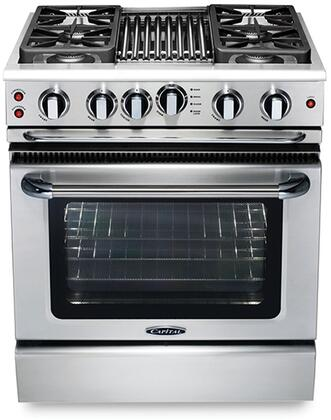 Capital GSCR304BL  Liquid Propane Freestanding Range with Sealed Burner Cooktop, 4.1 cu. ft. Primary Oven Capacity,
