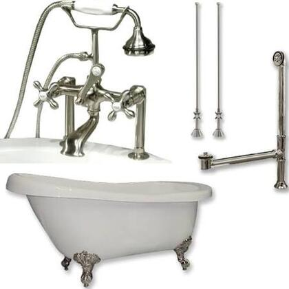"Cambridge AST67463D6PKG Acrylic Slipper Bathtub 67"" x 30"" with 7"" Deck Mount Faucet Drillings and Complete Plumbing Package"