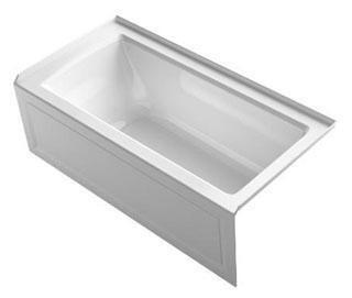 "Kohler K-1947-VBRA Archer 60"" x 30"" Alcove VibrAcoustic Bath Tub with Integral Apron, Integral Flange and Right-Hand Drain In"