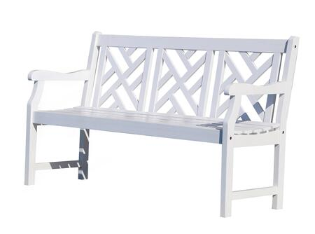 Vifah V1342 Picnic Wood Frame Armed Patio Benches