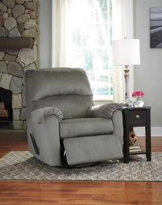 "Flash Furniture Signature Design by Ashley Bronwyn 39"" Recliner with Swivel Glider Feature, Lever Recliner, Plush Pillow Back, Metal Frame and Fabric Upholstery in"