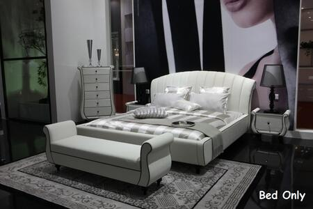 VIG Furniture VGSLE-AUSPICIOUS Modrest Auspicious Bed with Luxury Tufting and Leather Upholstery in White