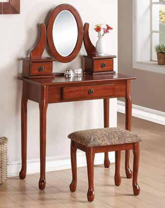Acme Furniture 9015 Jonas Vanity Set with 3 Drawers, Mirror, Cushioned Stool, Cabriole Legs and Decorative Hardware in