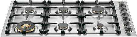"""Bertazzoni QB36M600 36"""" Master Series Cooktop with 6 Burners, Dual Power Burner, Seamless Surface and One-Touch Ignition in Stainless Steel"""