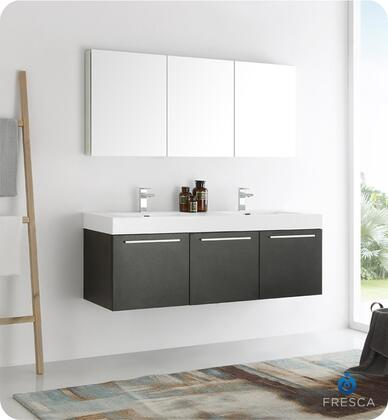 "Fresca Vista Collection FVN8093 60"" Wall Hung Double Sink Modern Bathroom Vanity with Medicine Cabinet, 3 Soft Closing Doors and Integrated Acrylic Countertop and Sink in"