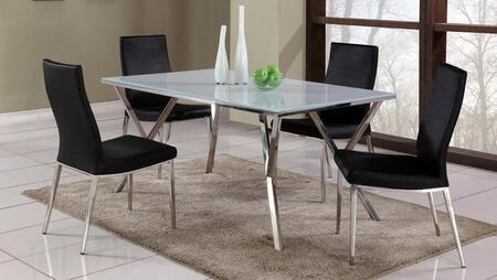 Chintaly JADEXX5PC JADE DINING 5 Piece Set - Super White Starphire Glass Dining Table with 4 Side Chairs