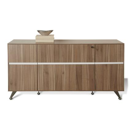 "Unique Furniture 300 Collection 63"" Storage Credenza with 2 Doors, 1 File Cabinet, 1 Utility Drawer, 1 Adjustable Shelf, Chrome Base and High Pressure Melamine Material in"