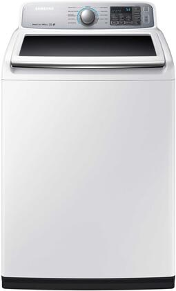 """Samsung Appliance WA50M7450Ax 27"""" Top Load Washer with 11 Wash Cycles, 5 cu. ft. Capacity, Stainless Steel Drum, Stainless Steel Pulsator, and Smart Care, in Platinum"""