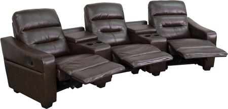 Flash Furniture BT703803GG Futura Series 3-Seat Reclining Leather Theater Seating Unit with Cup Holders