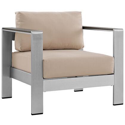 Modway EEI2266SLVBEI Shore Series  Aluminum Frame  Patio Arm Chair