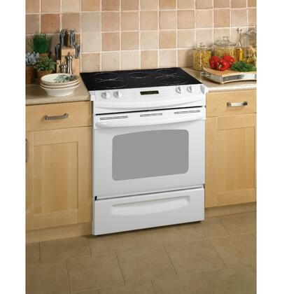 GE JSP46DPWW CleanDesign Series Slide-in Electric Range with Smoothtop Cooktop Storage 4.1 cu. ft. Primary Oven Capacity