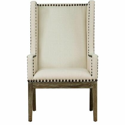 TOV Furniture Tribeca TOVTRI Linen Chair with Black Stained Legs, Hand-Applied Silver Nail Head Trim in