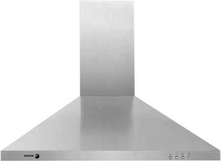 "Fagor Pyramid 60CFP-X XX"" Chimney Wall Mounted Range Hood With 600 CFM Blower System, 3 Speed Settings, Shut Off Delay Button, Two 20 W Halogen Lights, Automatic Shut Off, In Stainless Steel"