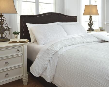 Signature Design by Ashley Limera Q738003 3 PC Size Duvet Cover Set includes 1 Duvet Cover and 2 Standard Shams with Crinkled Solid Design and Polyester Material in White Color