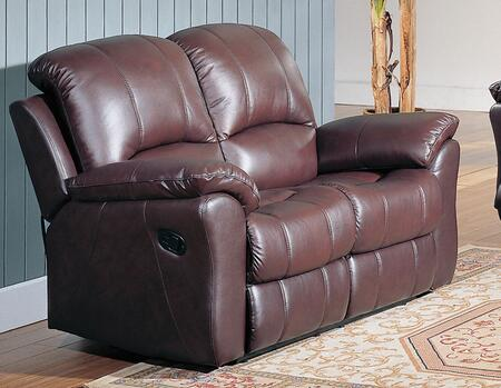 Yuan Tai KE8896LBR Kent Series Leather Loveseat with Wood Frame Loveseat