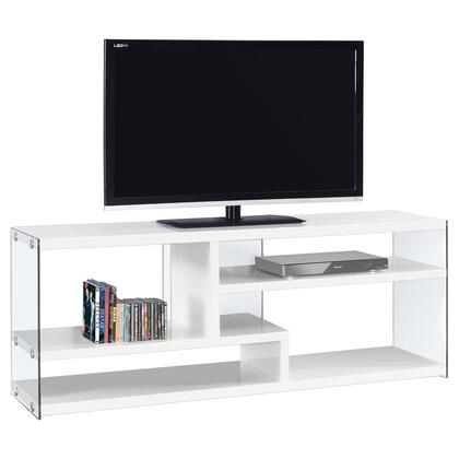 """Monarch I269X 60"""" TV Stand with 2 Fixed Shelves, Modern Contemporary Design and Tempered Glass"""