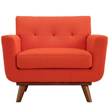 "Modway Engage Collection 40"" Armchair with Cherry Rubberwood Legs, Track Arms, Tufted Back and Fabric Upholstery in"