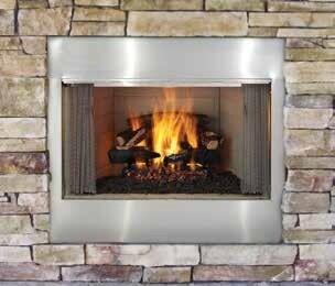 Majestic ODVILLAXXT Villawood Outdoor Wood Burning Fireplace, Up to 69,000 BUTs, Traditional Full Refractory Lining, Dual Gas Knockouts, UL/ULC Listed