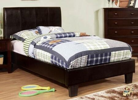 Furniture of America Villa Park CM7007X Bed with Contemporary Style, Padded Leatherette Platform Bed, Curved Headboard, European Slat Kit in Espresso