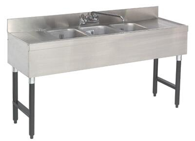 "Advance Tabco 63C-X Lite Series Three-Compartment Underbar Sink with 4"" Backsplash, Drainboards and Faucet in Stainless Steel"