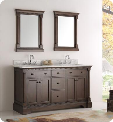 "Fresca Kingston Collection FVN2260 60"" Traditional Double Sink Bathroom Vanity with 2 Mirrors, Carrera Marble Countertop, 5 Soft Close Dovetail Drawers and Ceramic Undermount Sink in"