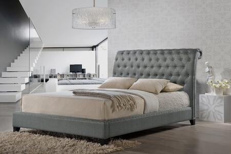 Wholesale Interiors Baxton Studio BBT6293SG Jazmin Modern Platform Bed with Button Tufted Upholstered Headboard, Tapered Legs, Silver Nail Head Trim and Wooden Frame