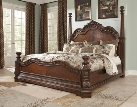 Milo Italia BR-790POSTERBED Mcgrath Collection x Size Poster Bed with Ash Swirl, Birch Veneers and Asian Hardwoods in Dark Cherry