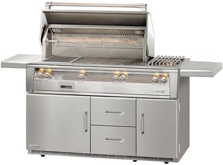 "Alfresco ALXE-56SZR 56"" Standard Grill Liquid Propane On Refrigerated Base with Side Burner Sear Zone, in Stainless Steel"